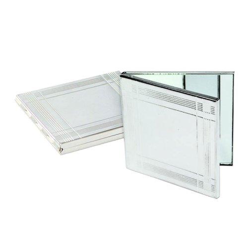 Miroir de poche, carré, compact, double, en plaqué argent