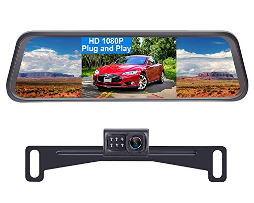 LeeKooLuu LK1 HD 1080P Backup Camera with 4.3'' Mirror Monitor Kit for Cars,Vans,Trucks,Campers Hitch Rear View Camera One Wire System IP 69 Waterproof License Plate Camera DIY Grid Lines
