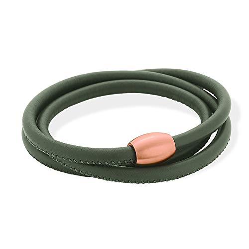 XEN Lederarmband dunkelgrün mit Magnetverschluss rosè vergoldet Längen zur Wahl 53