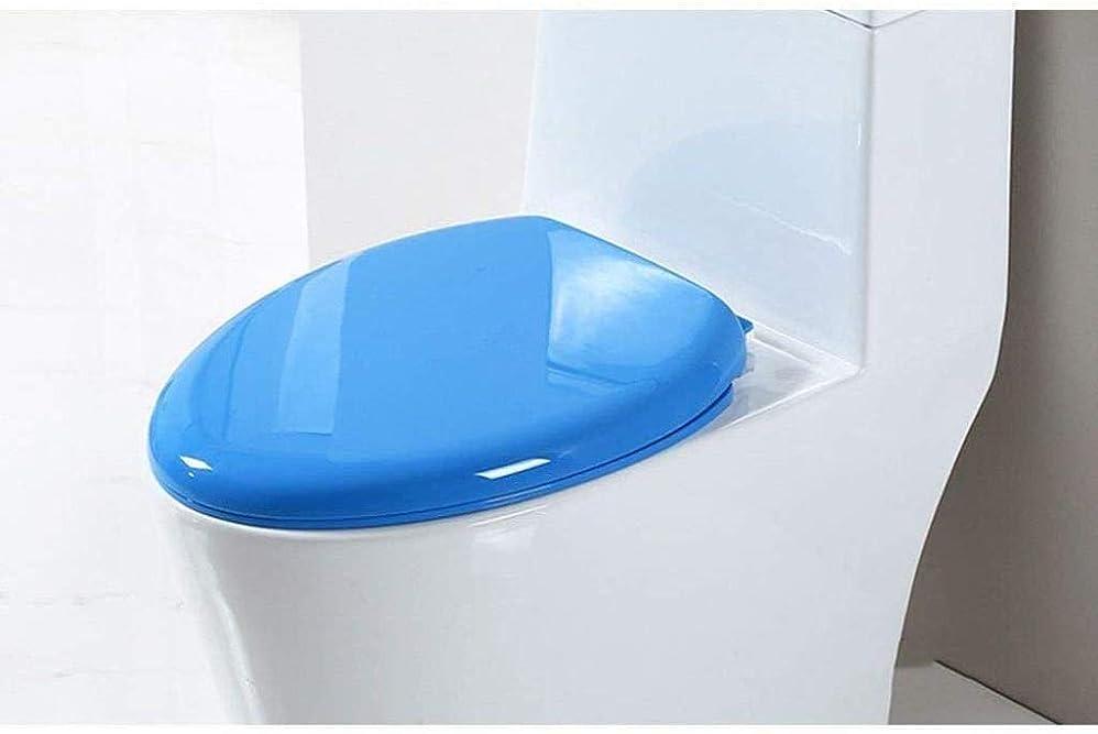 統合する検体花火CXMMTGトイレのふた 二つのフィッティングキット付き便座ユニバーサル便座ミュート抗菌トップマウントされた超耐性トイレのふた、青、43 * 36センチメートル CXMWY-4W0Y2