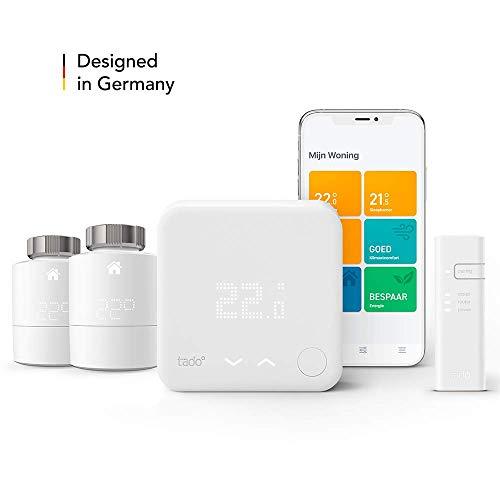 tado° Slimme Thermostaat - Starterskit V3+ met twee Slimme Radiatorknoppen om de verwarming per kamer aan te sturen, eenvoudige doe-het-zelf installatie, Designed in Germany