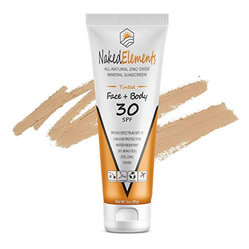 Naked Elements Face Body SPF 30, All-Natural Reef-Safe 25% Non-Nano Zinc Oxide, Broad Spectrum, Organic, Travel size, 3oz (85g), Tinted (Bronze)
