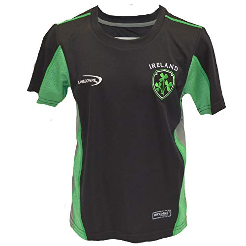 Lansdowne Black Ireland Kids Performance T-Shirt (7/8 Years)