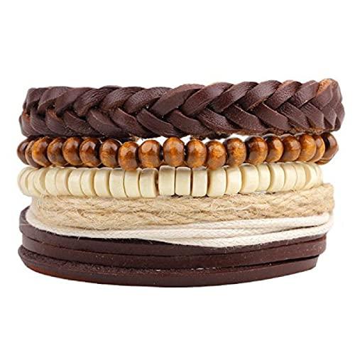 Pulsera ZIYUYANG, 4 piezas mixtas / juego de pulseras de cuentas de madera retro tejidas para hombres y mujeres QNW4008