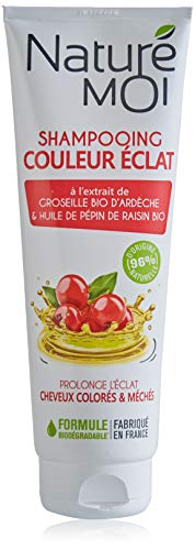 Naturé Moi - Shampooing couleur éclat à l'extrait de groseille d'Ardèche & huile de pépin de raisin bio - Protège les cheveux colorés et méchés - 250ml