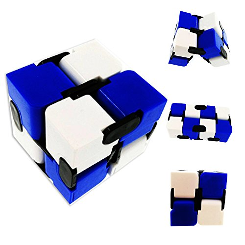JUHAICH Creative Novelty Infinite Cube By, Magic Folding Cube Puzzles -Adult to Decompress Fidget Cube and Children Toys, Folding and Portable Cube (Blue,white)