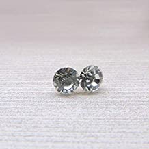 6mm Round Clear Glass Rhinestone Earrings on Plastic Posts
