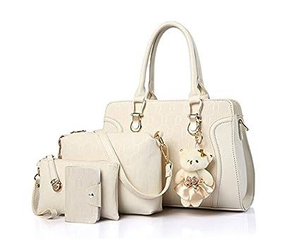 Koobea Sac a Main PU cuir + sac à bandoulière + sac à main + titulaire de la carte 4pcs Set