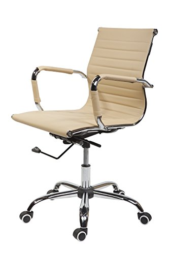 SVITA Design Bürostuhl Chrom Rahmen Elegance Chefsessel Drehstuhl Konferenz-Stuhl (Beige, Freischwinger)