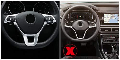 Interieur Lenkrad Dekor ABS Kunststoff Matt für Polo VI 6 Transporter T6 Passat B8 T-Roc Tiguan II 2 Golf 7 Mk7 T-Cross (Nicht für R-Line)