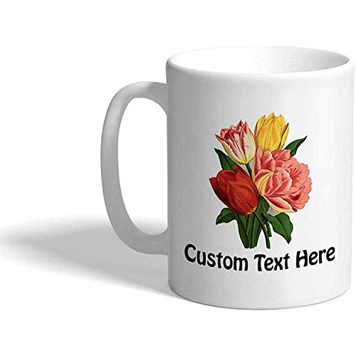 Taza de café personalizada 330 ml Tulipanes Vintage Look F Botánico y flores Taza de té de cerámica Texto personalizado