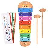 Eastar Xylophon für Kinder,Musikspielzeug Schlagzeug Schlagwerk, Spielzeug Xylophon mit Holzschlägeln, Holzspielzeug Musikinstrument für Kinder Pädagogische Entwicklung Spielzeug Geschenke 32x7.6cm