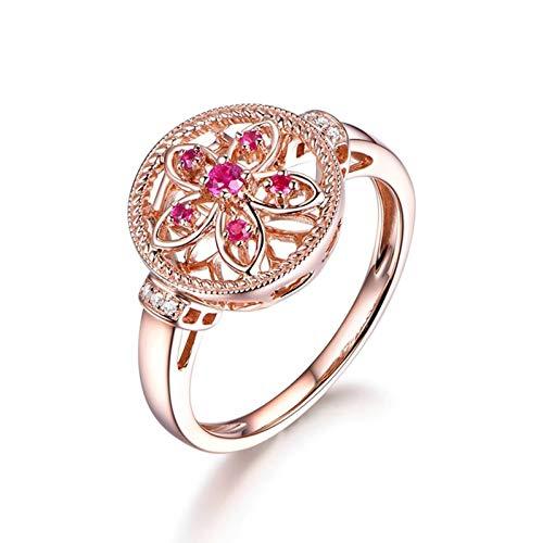 Ubestlove Rosegold Ring Schlicht Mama Geschenke Weihnachten Blume 0.11Ct Rubin Ring 0.11Ct 60