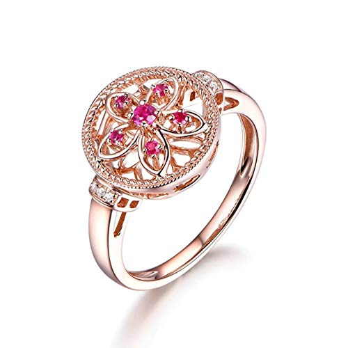 Ubestlove Ruby Wedding Anniversary Gifts Initial Rings For Teenage Girls Flower Ring 0.11Ct I 1/2