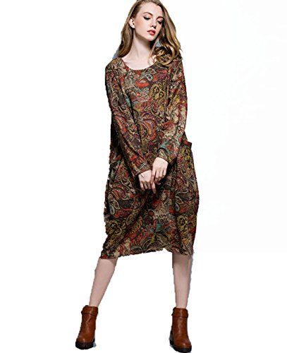 YALI Robe imprimée rétro grande taille XL Noix de cajou