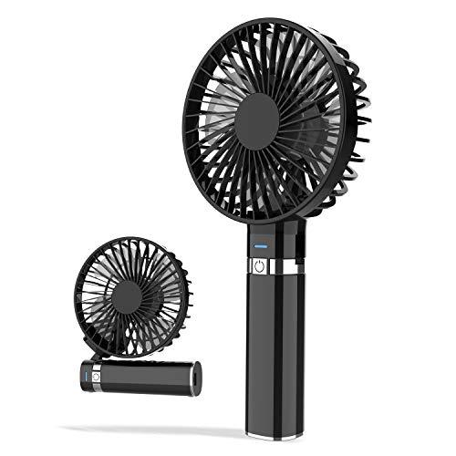 【2020年最新 USB 充電式】 携帯扇風機 手持ち扇風機 卓上扇風機 LEDライト付き 大風量 折り畳み型 静音 小型 3段階風量調節 携帯便利 花火大会 夏祭り 熱中症対策 ブラック