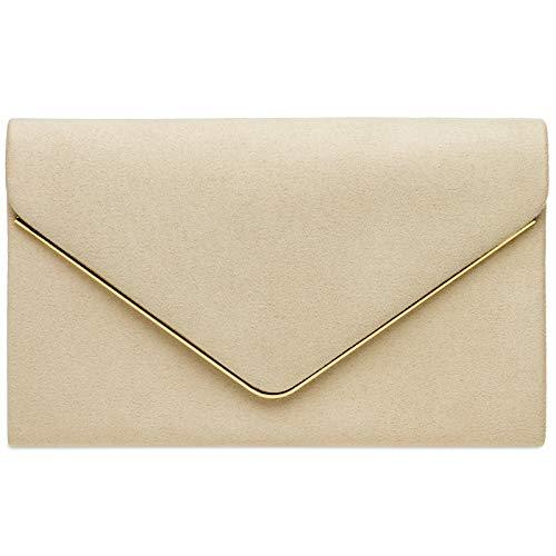 Caspar TA356 Damen elegante Textil Velours Clutch Tasche Abendtasche mit langer Kette, Farbe:nude, Größe:One Size