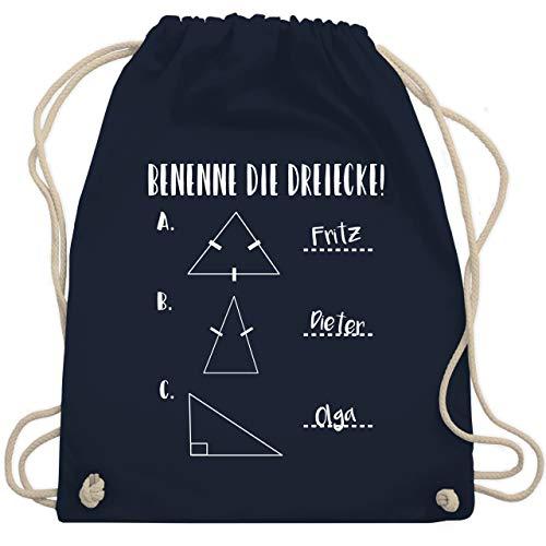 Shirtracer Lehrer - Benenne die Dreiecke! - Unisize - Navy Blau - turnbeutel benenne die dreiecke - WM110 - Turnbeutel und Stoffbeutel aus Baumwolle