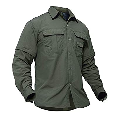 TACVASEN Men's Quick Dry UV Protection Zipper Convertible Long Sleeve Shirt,Green,Large