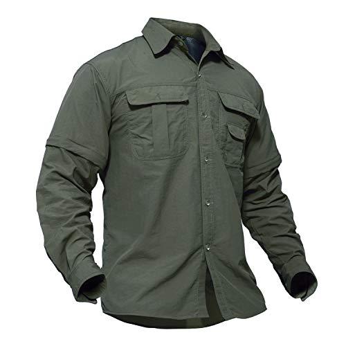 TACVASEN Men's Quick Dry UV Protection Zipper Convertible Long Sleeve Shirt,Green,Large