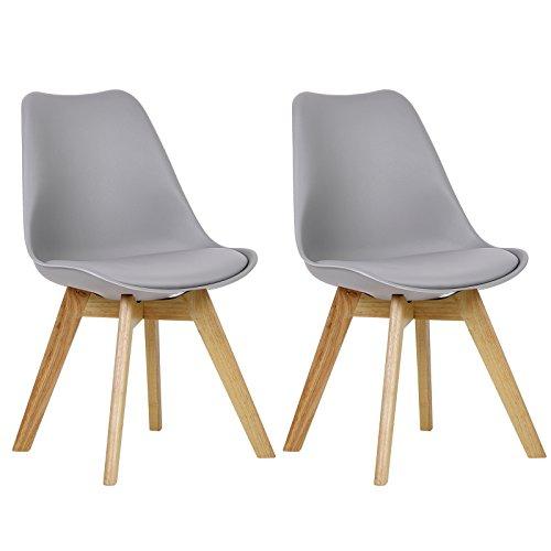 WOLTU BH29gr-2 2 x Esszimmerstühle 2er Set Esszimmerstuhl Design Stuhl Küchenstuhl Holz, Grau