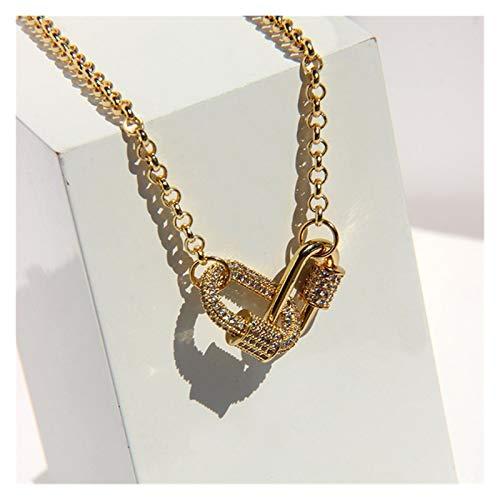 KQATCJ Multa Collar de mosquetón de Doble Anillo de Oro, Collar de Piedra de pavimentación en Miniatura, Collar Simple de Las Mujeres para Mujeres y niñas (Metal Color : Gold)