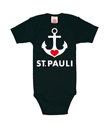Logoshirt - Anker Baby-Body Kurzarm Junge - Hamburg - St. Pauli Baby Strampler - schwarz - Lizenziertes Originaldesign, Größe 62-68