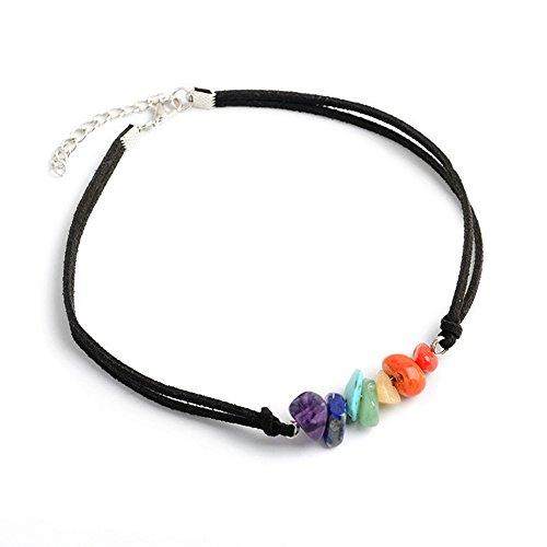 SIVITE 7 Chakra Gemstone Choker Energy Healing Crystal Necklace Handmade Multilayer Bracelet for Women Girls