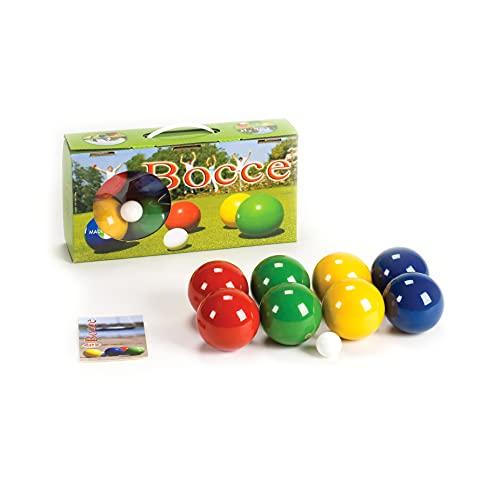 Londero Boccia-Spiel mit lackierten Holzkugeln | Boule-Set aus 8 Kugeln, Zielkugel und Tragebox | Gewicht pro Holz-Kugel: 283 g, ø 80 mm | In 4 Farben lackiert