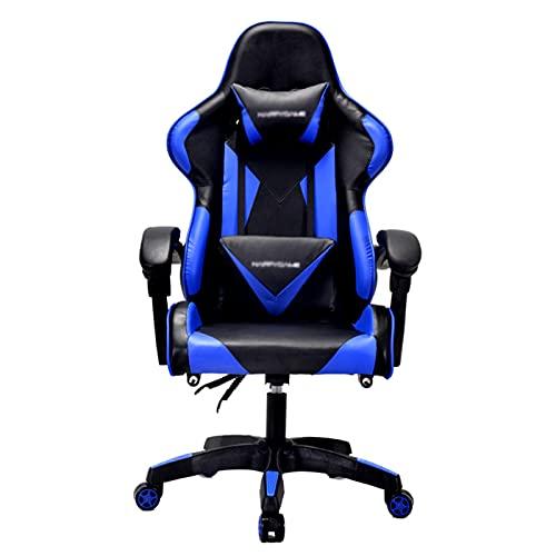 Sedia da gioco ergonomica con schienale alto per computer, con poggiatesta e supporto lombare, sedia girevole E-Sports blu