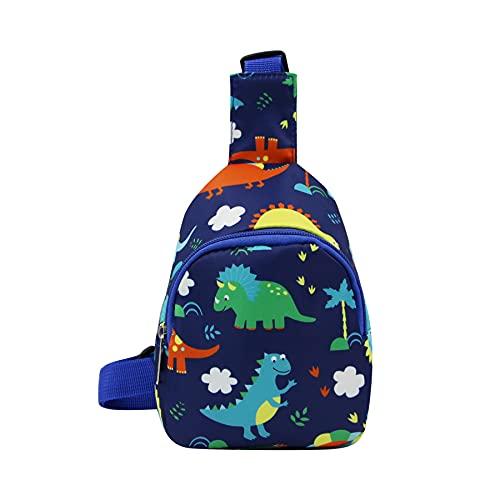 Kids Sling Chest Bag Cute Dinosaur Crossbody Purse Nylon Shoulder Casual Daypacks for Boys Girls Toddlers