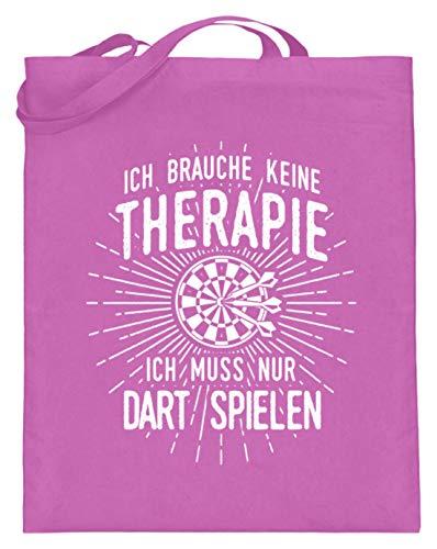shirt-o-magic Dartspieler: Therapie? Lieber Dart - Jutebeutel (mit langen Henkeln) -38cm-42cm-Pink