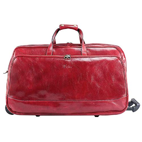 Best Price VESUVIO- Unisex leather trolley hand luggage with two wheels removable handle (RED)