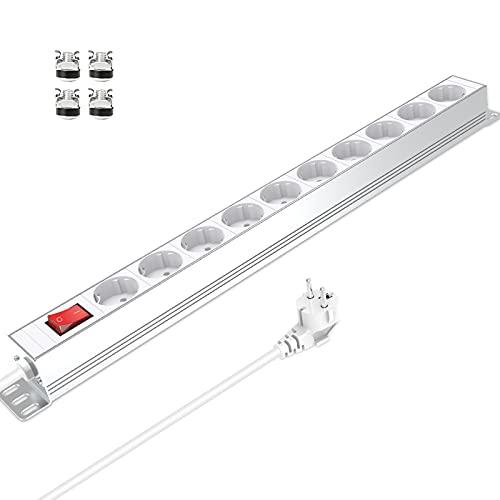 Steckdosenleiste 10 Steckdose mit Überspannungsschutz, Mehrfachsteckdose 10 Fach Steckerleiste 16A 3680W für küche Büro Werkstatt, 1,8 M Kabellänge