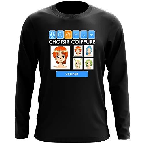 T-Shirt à Manches Longues Noir One Piece parodique Nami et Vivi : Générateur de Personnages : (Parodie One Piece)