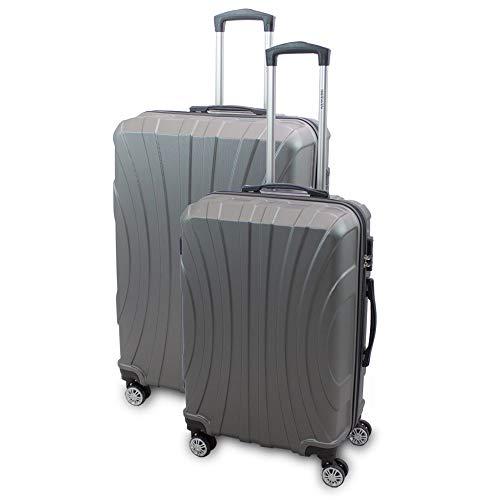 BERWIN® Kofferset L + XL 2-teilig Reisekoffer Trolley Hartschalenkoffer ABS Teleskopgriff Modell Strike (Grau)