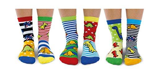 United Oddsocks Sockasaurus - Juego de 6 calcetines para niño, 27-30 EU
