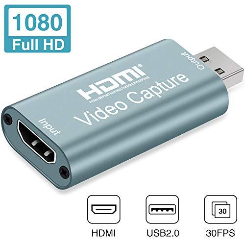 Aokeou HDMI Videoaufnahmekarte - 1080P 30fps Capture streamen, aufnehmen und Teilen - USB 2.0 Video Capture Karte,unterstützt Videoaufzeichnung Live-Übertragungen (Grau)