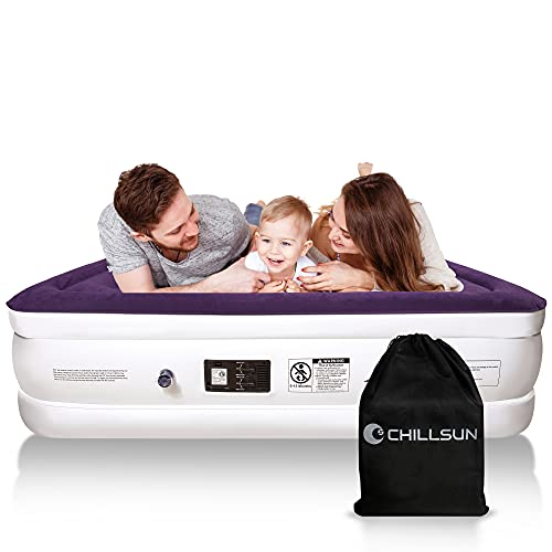 CHILLSUN Air Mattress Inflatable Airbed with Built in Pump, Fast Inflation/Deflation Comfortable Top Surface Blow Up Bed with Portable Carrying Bag for Home & Camping Travelling, 80x60x18'', 650lb MAX