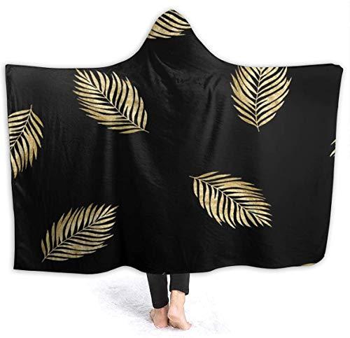 "Patrón Negro con Ramas Doradas Manta con Capucha 50""x40"" Microfibra Antiestática Bata con Capucha Mantas térmicas para Dormir para sofá Cama Sofá"
