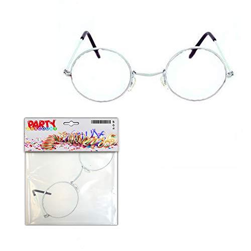 PARTY DISCOUNT ® Brille Oma - Opa, rund ohne Gläser, Metall Silber