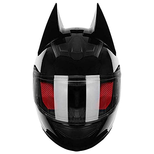 qwert Personality Cat Ears Casco de motocicleta modular de cara completa, certificado DOT cuatro estaciones ajustable desmontable para jóvenes adultos hombres y mujeres (M-XL, 54-62cm)