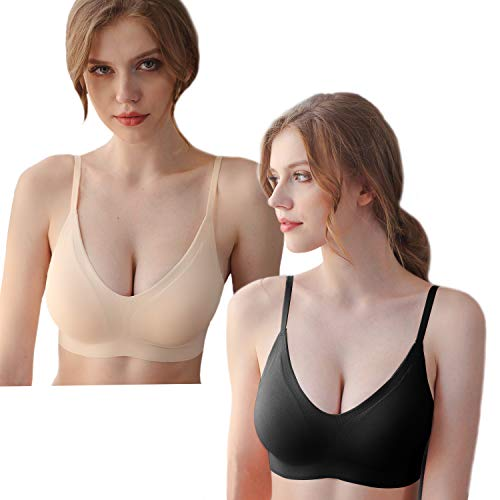 PRETTYWELL Comfort Bras for Women, Smooth Back Sleep Bras for A to D Cups, Seamless Lightweight Bras for Women(2 Pack,XL)