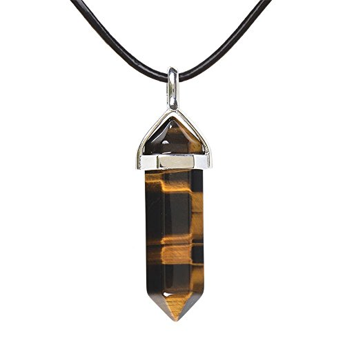 Justinstones Natural Yellow Tiger Eye Gemstone Hexagonal Pointed Reiki Chakra Pendant Genuine Leather Necklace 18 Inch