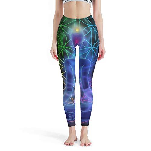 Veryday Buddha Chakra Damen Yoga Leggings Lange Hohe Taille Blinkdicht Yogahose Sporthose Fitnesshose Laufhose Jogginghosen Freizeithose Bunt m