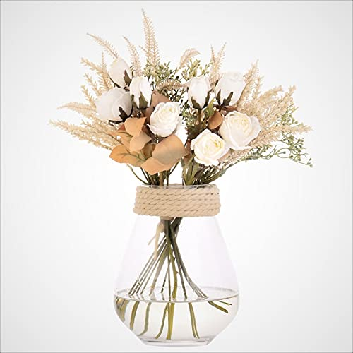 huaao Fleurs Artificielles Rose Et Oreilles De Blé Arrangements Fleurs Décor en Plastique Plantes Bouquet De Mariée Mariage Maison Jardin Bureau Chambre Centres De Table (Blanc)