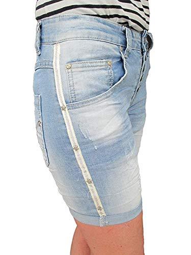 Place du Jour denim krempel Baggy Boyfriend dames stretch shorts sterren zijstrepen galonstrepen