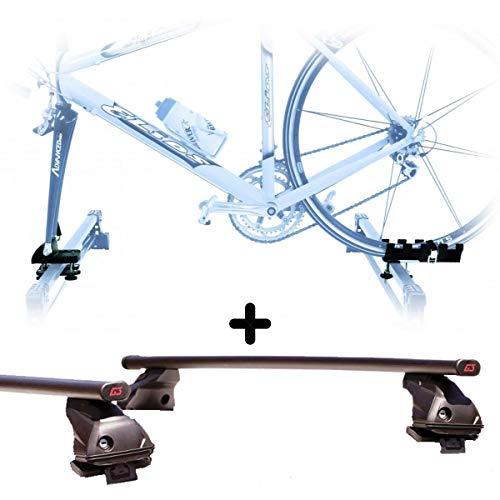PROPOSTEONLINE Portabici da Tetto Auto Compatibile per Fiat 500L Living 5p (da 2013) Porta Biciclette con Attacco Bici a Forcella Set con Barre Portatutto
