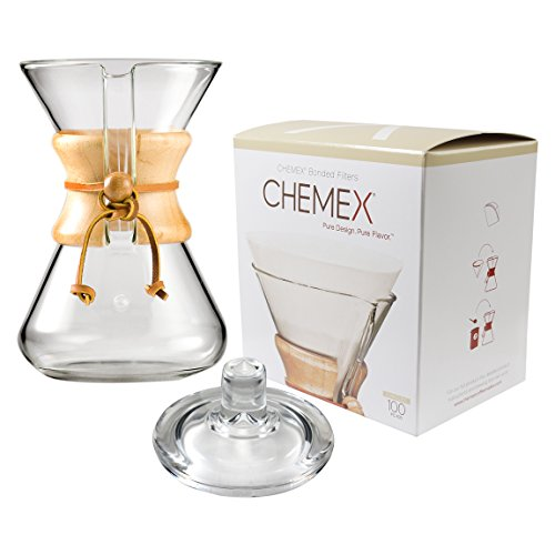 Chemex Classic Wood Collar and Tie Glass 30 Ounce Coffee Maker with Cover and 100 Count Bonded Circle Coffee Filters
