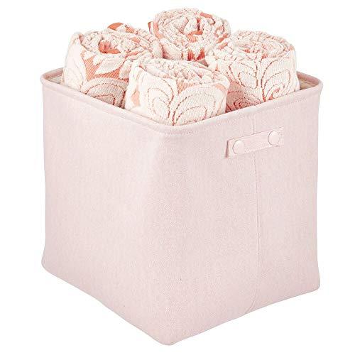 mDesign Cesta de tela alta con forro y diseño estructurado – Ideal como cesto para baño o como organizador de cosméticos – Práctico organizador de baño de algodón con asas – rosa claro